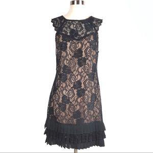 KENSIE lace dress 8 black ruffle tiered drop waist
